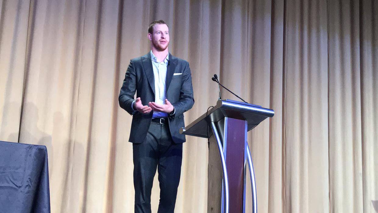 Carson Wentz Sharing at the National Prayer Breakfast during a dinner gathering.